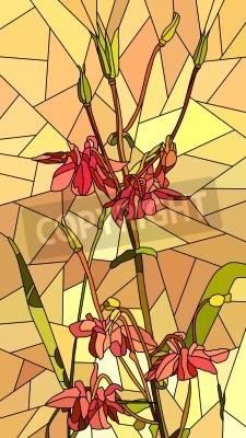Наклейка Вертикальный вектор мозаика с большими клетками Коломбина цветы на желтом.