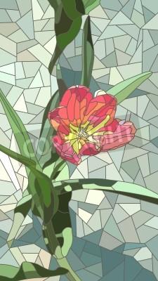 Наклейка Вектор вертикальной мозаики с крупными ячейками из красных тюльпанов цветы на зеленый.