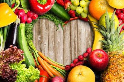 Наклейка Овощи и фрукты в форме сердца