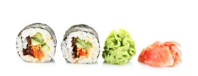 Наклейка Вегетарианская суши рулоны изолированные на белом