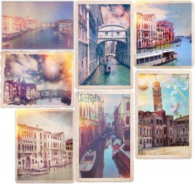 Наклейка Венеция - старомодные открытки коллаж