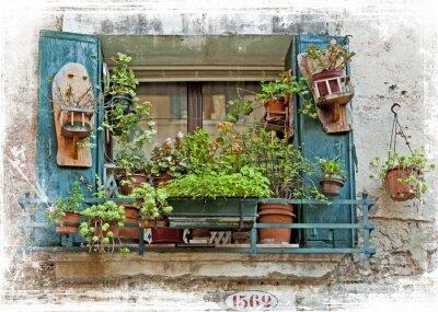 Наклейка Венеция, старые небольшие окна с растениями