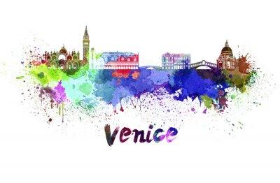 Наклейка Венеция горизонты акварелью