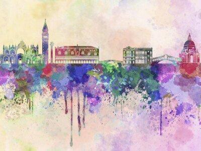 Наклейка Венеция горизонты в фоне акварель