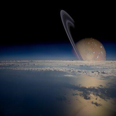 Наклейка Смотреть со спутника на орбите вокруг кольчатой планеты.