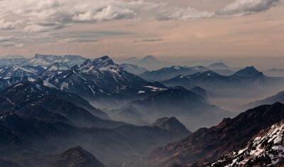 Наклейка Вид из Hoellengebirge к Зальцбург, Австрия