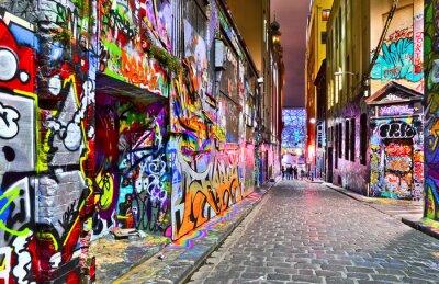Наклейка Посмотреть красочных граффити искусства в Hosier переулке в Мельбурне