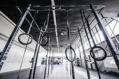 Наклейка вид на тренажерный зал CrossFit с солнцем