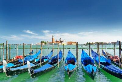 Наклейка Вид гондол на Венецианской лагуны, Венеция, Италия