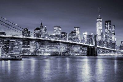 Наклейка Вид на Манхэттен и Бруклинский мост ночью, Нью-Йорк