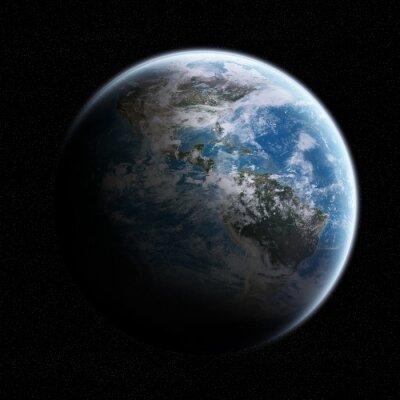 Наклейка Вид на планете Земля в космосе