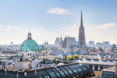 Наклейка Вид на Вену Skyline с собора Святого Стефана в утренней, Вена, Австрия