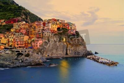 Наклейка Village of Manarola, Italy on the Cinque Terre coast at sunset