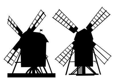 Наклейка Деревня старая мельница на белом фоне