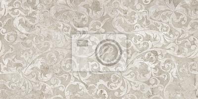 Наклейка vintage background with floral damask pattern