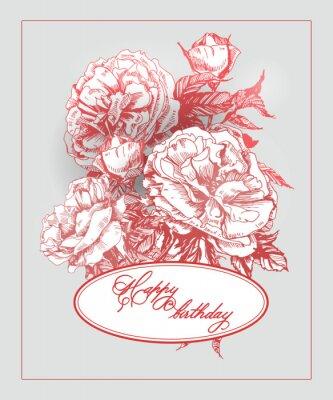 Наклейка Старинные карты рождения с цветущими розы и бабочки. (Используется для посадочном талоне, поздравительную открытку, приглашения, спасибо карты.) Векторные иллюстрации.
