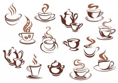 Наклейка Vintage коричневые кофейные чашки и горшки