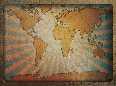 Наклейка Vintage card world map