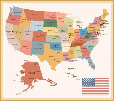 Наклейка Урожай Цвет Политическая карта США