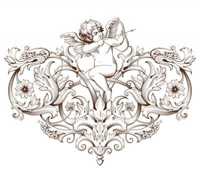 Наклейка Урожай декоративный элемент гравировки с орнаментом в стиле барокко узором и амура