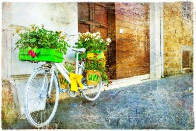 Наклейка старинные цветочные велосипед - обаятельная украшения улицы