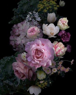 Наклейка Vintage garden flowers and decorative herbs on black background.