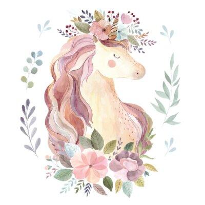 Наклейка Винтажная иллюстрация с милым единорогом и цветочным венком