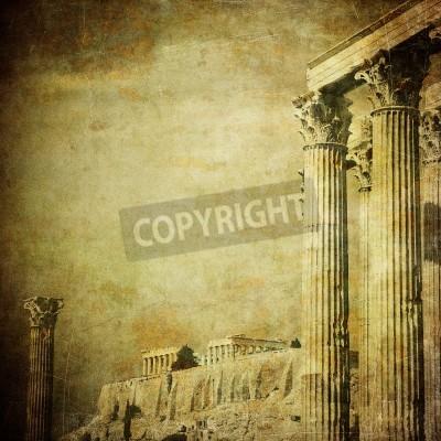 Наклейка Старинные изображения греческих колонн, Акрополь, Афины, Греция