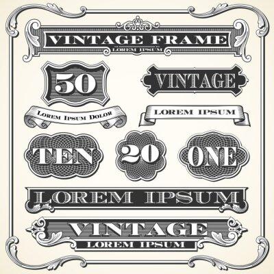 Наклейка Старинные этикетки, рамки и орнаменты