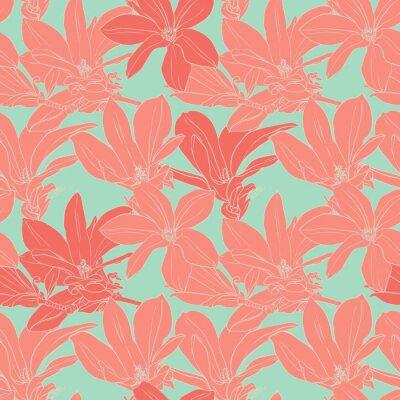 Наклейка Vintage magnolia flowers seamless pattern.