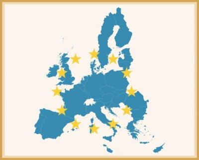 Наклейка Урожай Карта Европейского союза с флагом ЕС