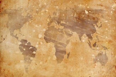 Наклейка старинные карты мира