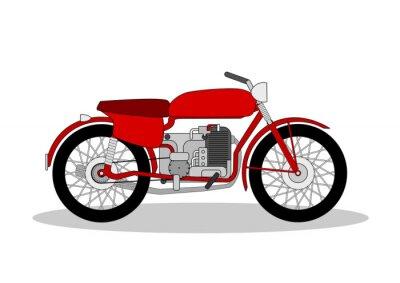 Наклейка старинные мотоцикл иллюстрации на белом