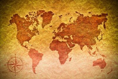 Наклейка старинные бумаги с карты мира