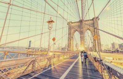 Наклейка Старинные фото Бруклинский мост в Нью-Йорке