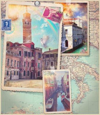 Наклейка Старинные открытки и коллаж из Венеции города