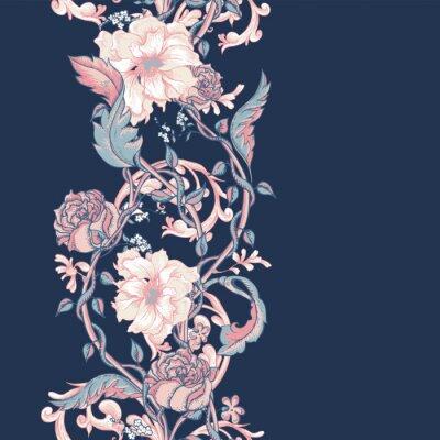 Наклейка Урожай бесшовных границы с цветущими магнолиями, розами и ветками