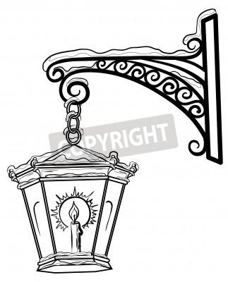 Наклейка Vintage уличный фонарь светящиеся в снегу, висит на декоративных кронштейна. Контуры.