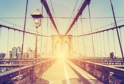 Наклейка Урожай стилизованное изображение Бруклинский мост, Нью-Йорк.