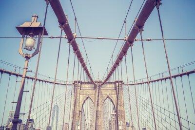 Наклейка Урожай тонированное изображение Бруклинский мост, Нью-Йорк.