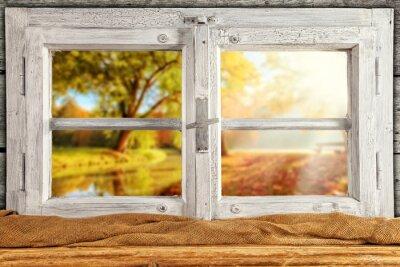 Наклейка Старинные деревянные окна позволят просмотреть осенние деревья