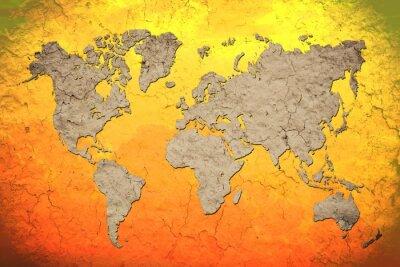 Наклейка Карта мира старинных с красным фоном