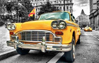 Наклейка Урожай Yellow Cab в Нижнем Манхэттене - Нью-Йорк Сити