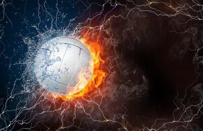 Наклейка Волейбол мяч в огонь и в воду