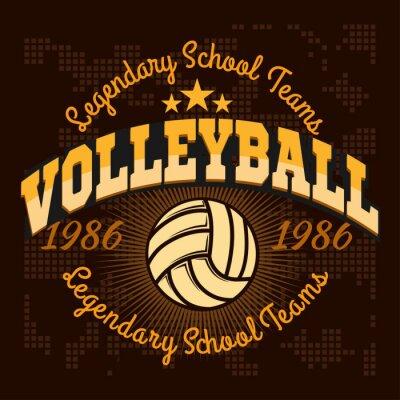 Наклейка Волейбол Чемпионат логотип с мячом - векторные иллюстрации.