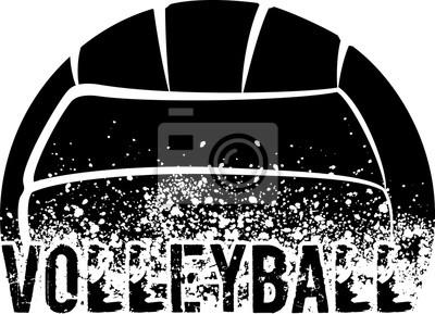 Наклейка Волейбол Темный Гранж
