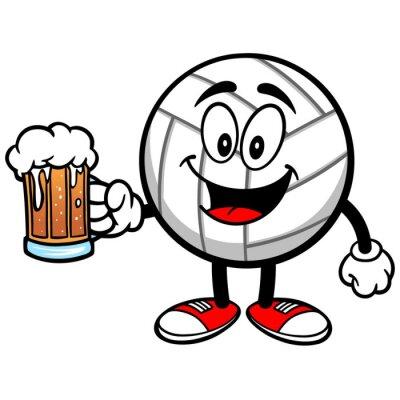 Наклейка Волейбол талисман с пивом