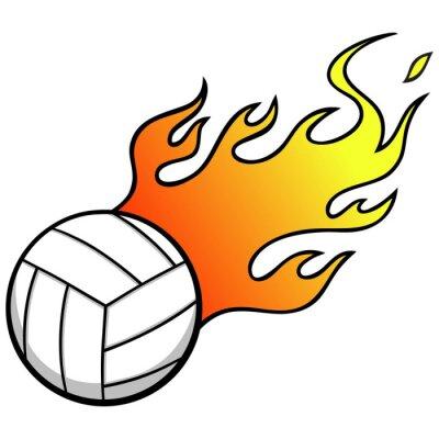 Наклейка Волейбол с огнем
