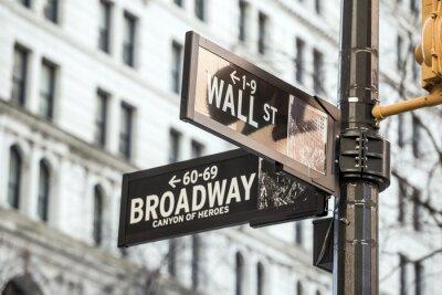 Наклейка Уолл-стрит знак в Нью-Йорке
