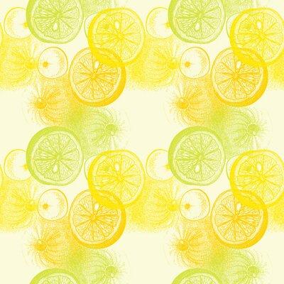 Наклейка Обои бесшовные модели с рисованной апельсины цитрусовых. Drawi